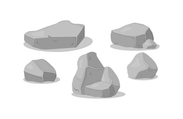 Conjunto de pedras de granito cinza de várias formas 3d. rocha, carvão e rochas da grafite no fundo branco. pilha de pedra cinza, ícones dos desenhos animados. ilustração.
