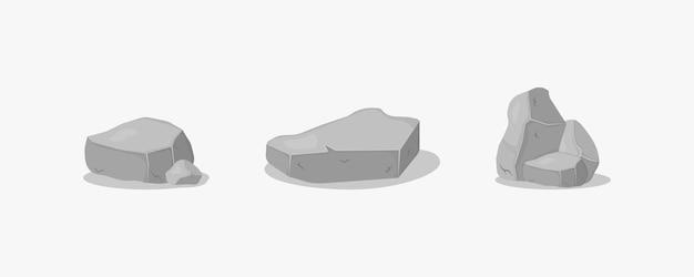 Conjunto de pedras de granito cinza de várias formas 3d