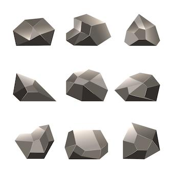 Conjunto de pedras de polígono ou rochas de polígono