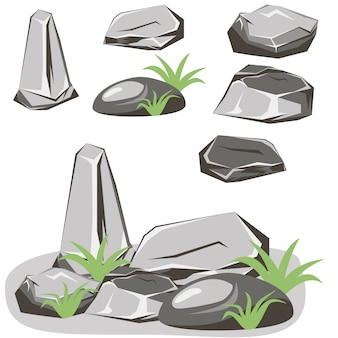 Conjunto de pedras de rocha. pedras e rochas em estilo plano 3d isométrico