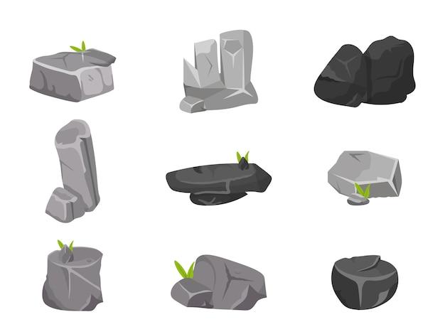Conjunto de pedras diferentes isoladas em branco