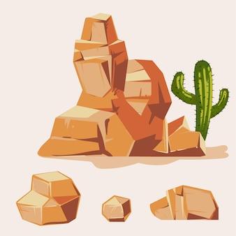 Conjunto de pedras do deserto. estilo simples 3d isométrica dos desenhos animados. jogo, diferente, pedregulhos