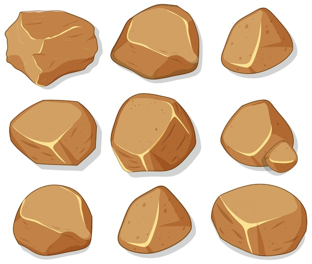 Conjunto de pedras marrons isoladas em fundo branco