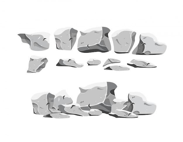 Conjunto de pedras pesadas em estilo cartoon