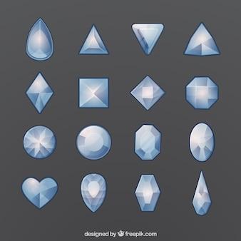 Conjunto de pedras preciosas com diferentes tipos de desenhos