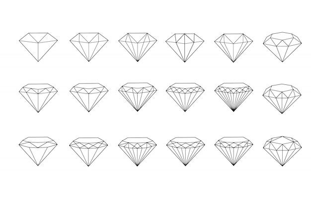 Conjunto de pedras preciosas e elementos de design de linha fina, emblemas com diamantes.
