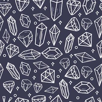 Conjunto de pedras preciosas e padrão sem emenda de diamante