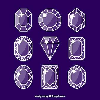 Conjunto de pedras preciosas lineares em tons roxos