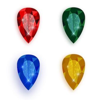 Conjunto de pedras preciosas multicoloridas.