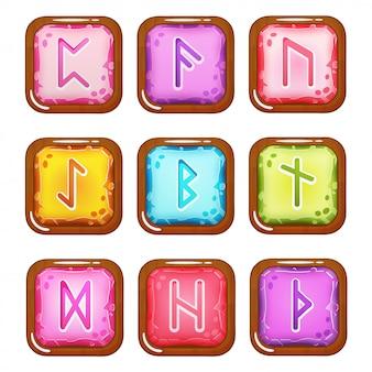 Conjunto de pedras quadradas coloridas de runas