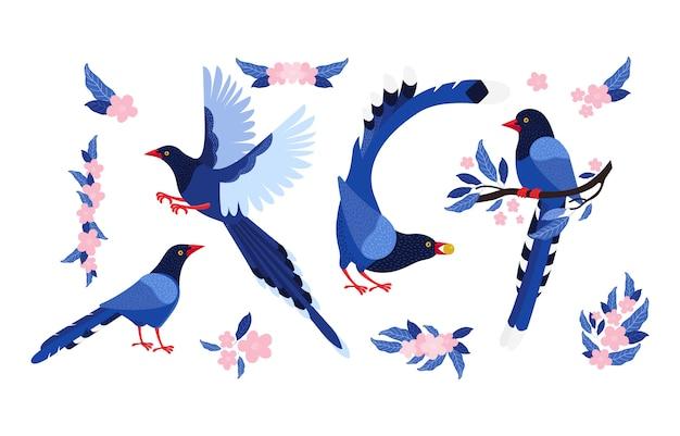 Conjunto de pega azul de taiwan e flores cor de rosa