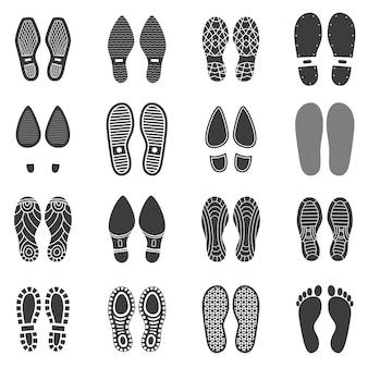 Conjunto de pegada de sapatos