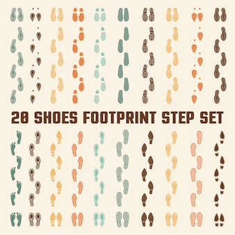Conjunto de pegadas coloridas de pegadas de sapatos