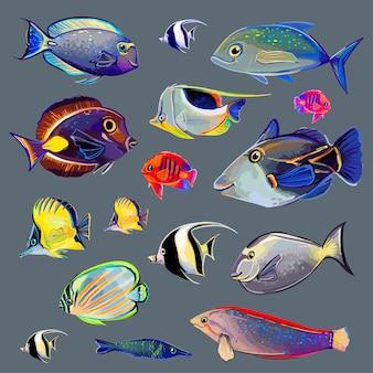 Conjunto de peixes brilhantes de cores diferentes