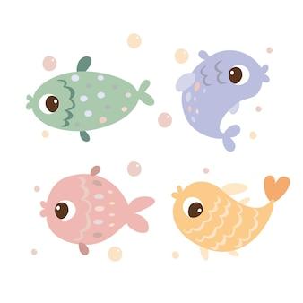 Conjunto de peixes coloridos