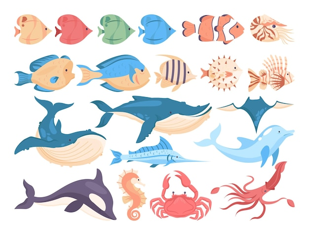 Conjunto de peixes e criaturas marinhas. coleção de fauna aquática. golfinho, baleia