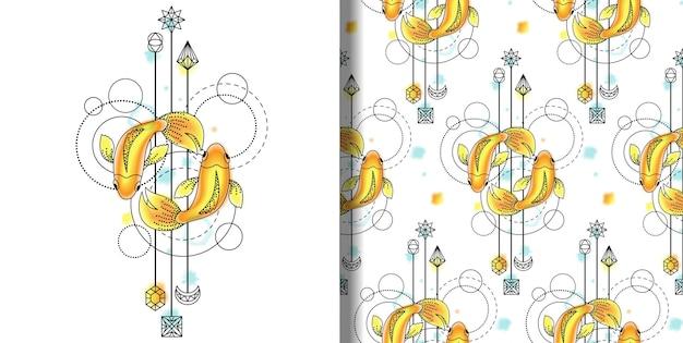 Conjunto de peixes em aquarela de vetor e padrão sem emenda