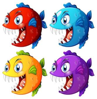 Conjunto de peixes exóticos de cores diferentes com personagens de desenhos animados de olhos grandes em fundo branco
