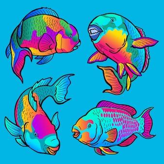 Conjunto de peixes papagaio para coleta de peixes esportivos