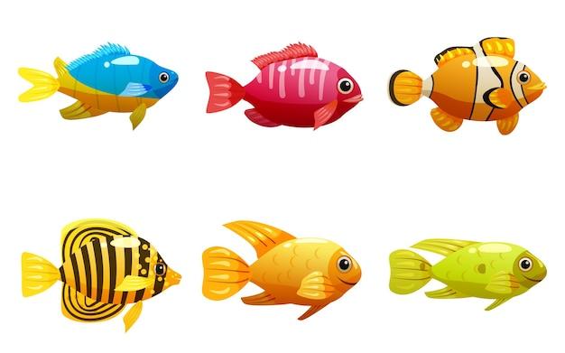 Conjunto de peixes tropicais amarelos e animais de estimação exóticos do recife de coral