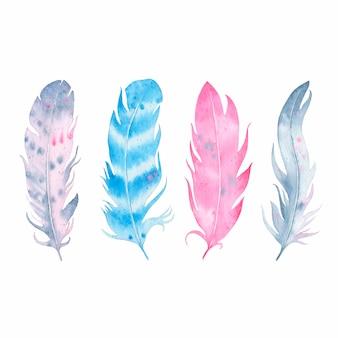Conjunto de penas boho aquarela mão desenhada isolado no branco