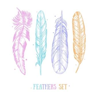 Conjunto de penas coloridas mão desenhar cartão de esboço boho ou estilo étnico.
