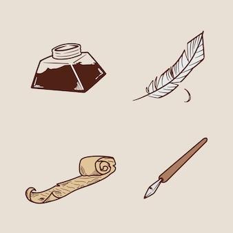 Conjunto de penas e garrafas de tinta desenho à mão