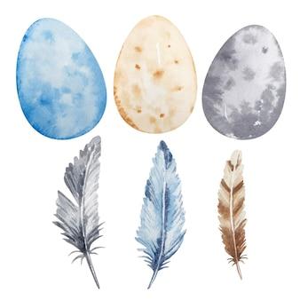 Conjunto de penas e ovos coloridos de páscoa em aquarela.