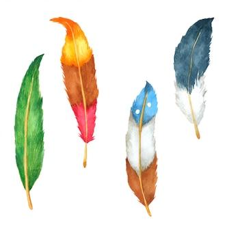 Conjunto de penas mão desenhada pintado em aquarela
