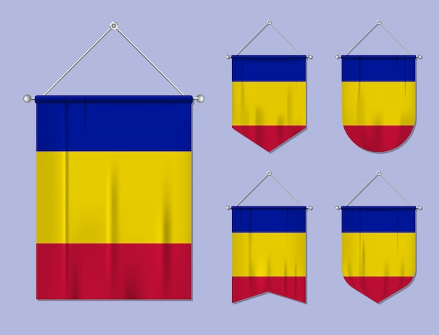 Conjunto de pendurar bandeiras andorra com textura têxtil. formas de diversidade do país de bandeira nacional. galhardete de modelo vertical.