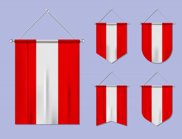 Conjunto de pendurar bandeiras áustria com textura têxtil. formas de diversidade do país de bandeira nacional. galhardete de modelo vertical