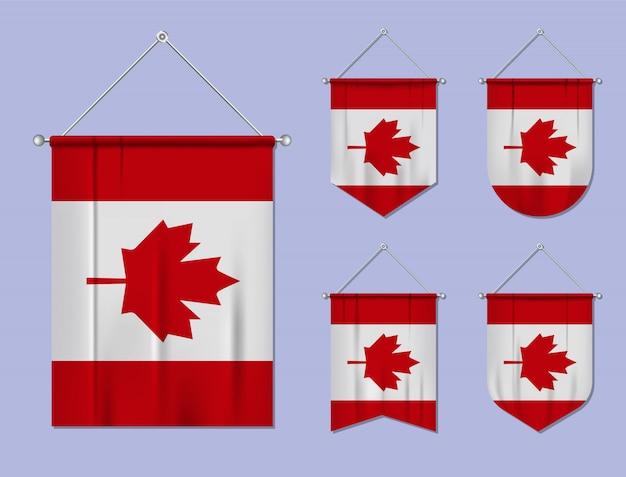 Conjunto de pendurar bandeiras canadá com textura têxtil. formas de diversidade do país de bandeira nacional. galhardete de modelo vertical