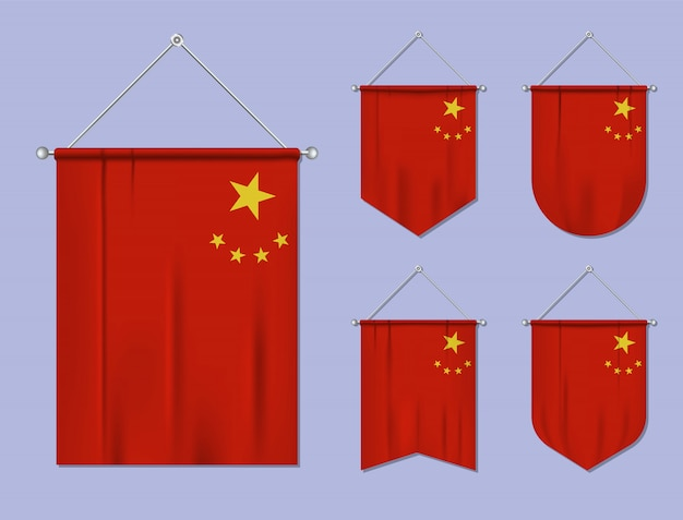 Conjunto de pendurar bandeiras china com textura de têxteis. formas de diversidade do país de bandeira nacional. galhardete de modelo vertical