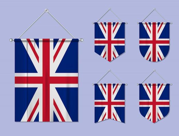 Conjunto de pendurar bandeiras do reino unido com textura de têxteis. formas de diversidade do país de bandeira nacional. galhardete de modelo vertical