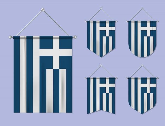 Conjunto de pendurar bandeiras grécia com textura têxtil. formas de diversidade do país de bandeira nacional. galhardete de modelo vertical