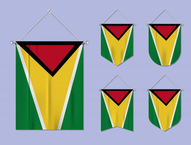Conjunto de pendurar bandeiras guiana com textura têxtil. formas de diversidade do país de bandeira nacional. galhardete de modelo vertical