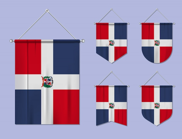 Conjunto de pendurar bandeiras república dominicana com textura têxtil. formas de diversidade do país de bandeira nacional. galhardete de modelo vertical
