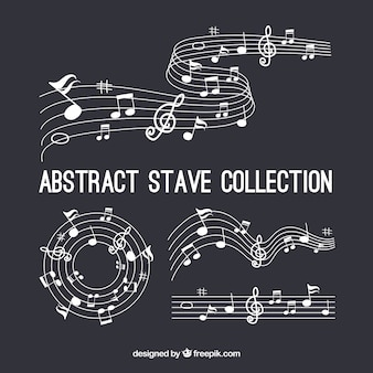 Conjunto de pentagramas e notas musicais