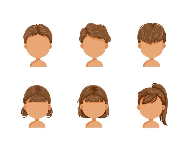 Conjunto de penteado de crianças. cabelo castanho de menina e meninos. rosto de uma menina. cabeça de menina. penteados de moda infantil. garoto de corte de cabelo na moda.
