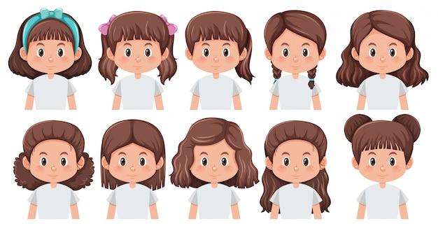 Conjunto de penteado diferente de menina