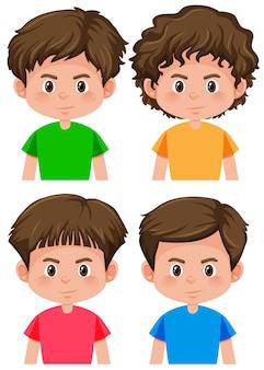Conjunto de penteado diferente de personagem de menino