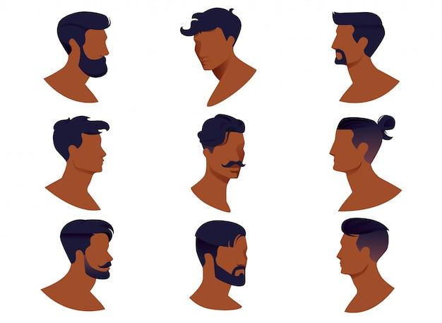 Conjunto de penteados de homens com barba e bigode