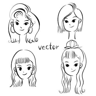 Conjunto de penteados diferentes e olhar.