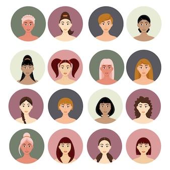 Conjunto de penteados femininos de avatar. lindas garotas com penteados diferentes, isolados em um fundo branco.