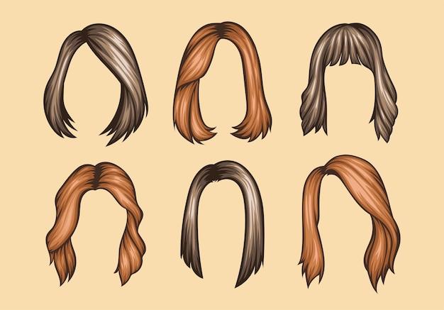 Conjunto de penteados femininos de variedades