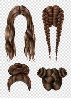 Conjunto de penteados femininos