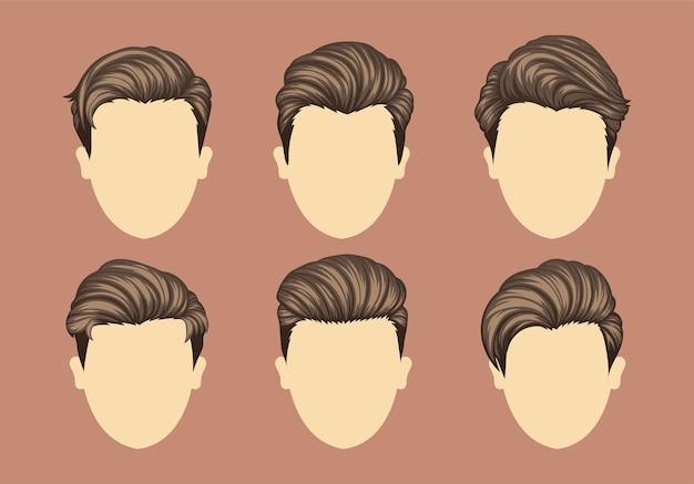 Conjunto de penteados masculinos de variedades