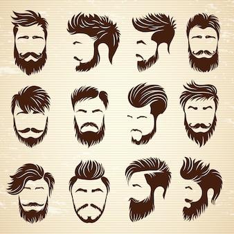 Conjunto de penteados masculinos