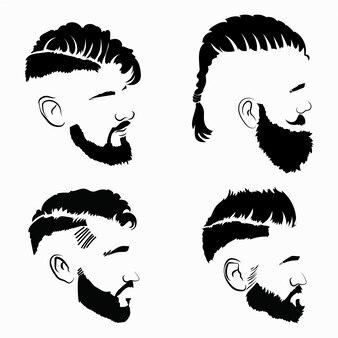 Conjunto de penteados para homens. coleção de silhuetas negras de penteados e barbas.