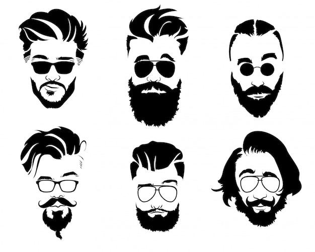 Conjunto de penteados para homens de óculos. coleção de silhuetas negras de penteados e barbas. ilustração vetorial para cabeleireiro.
